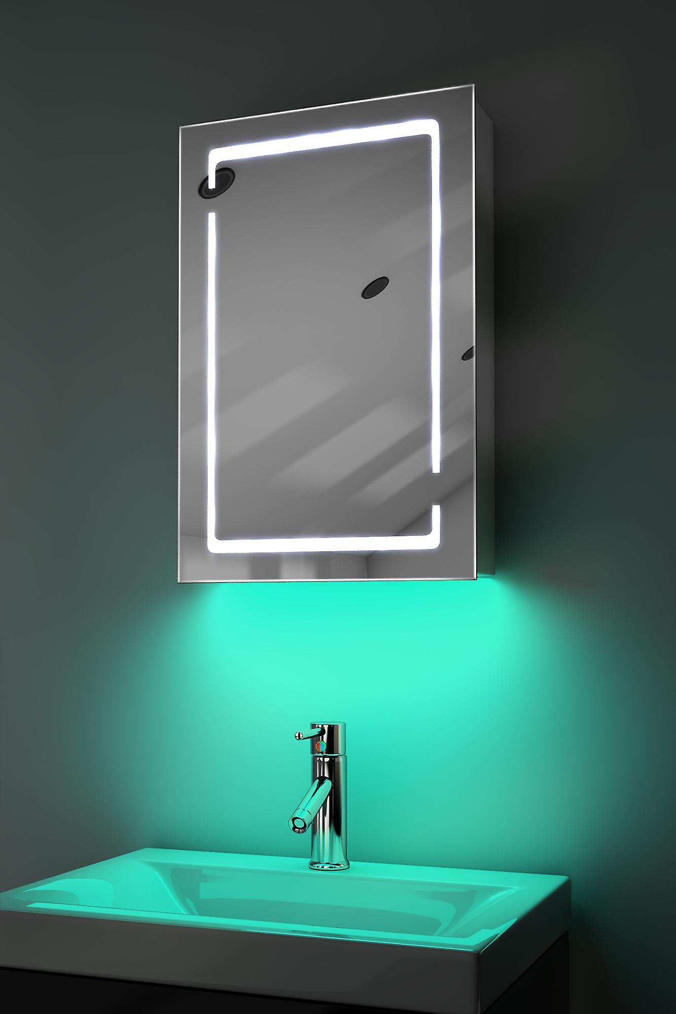 Demist Cabinet With LED Under Lighting, Sensor & Internal Shaver k350w