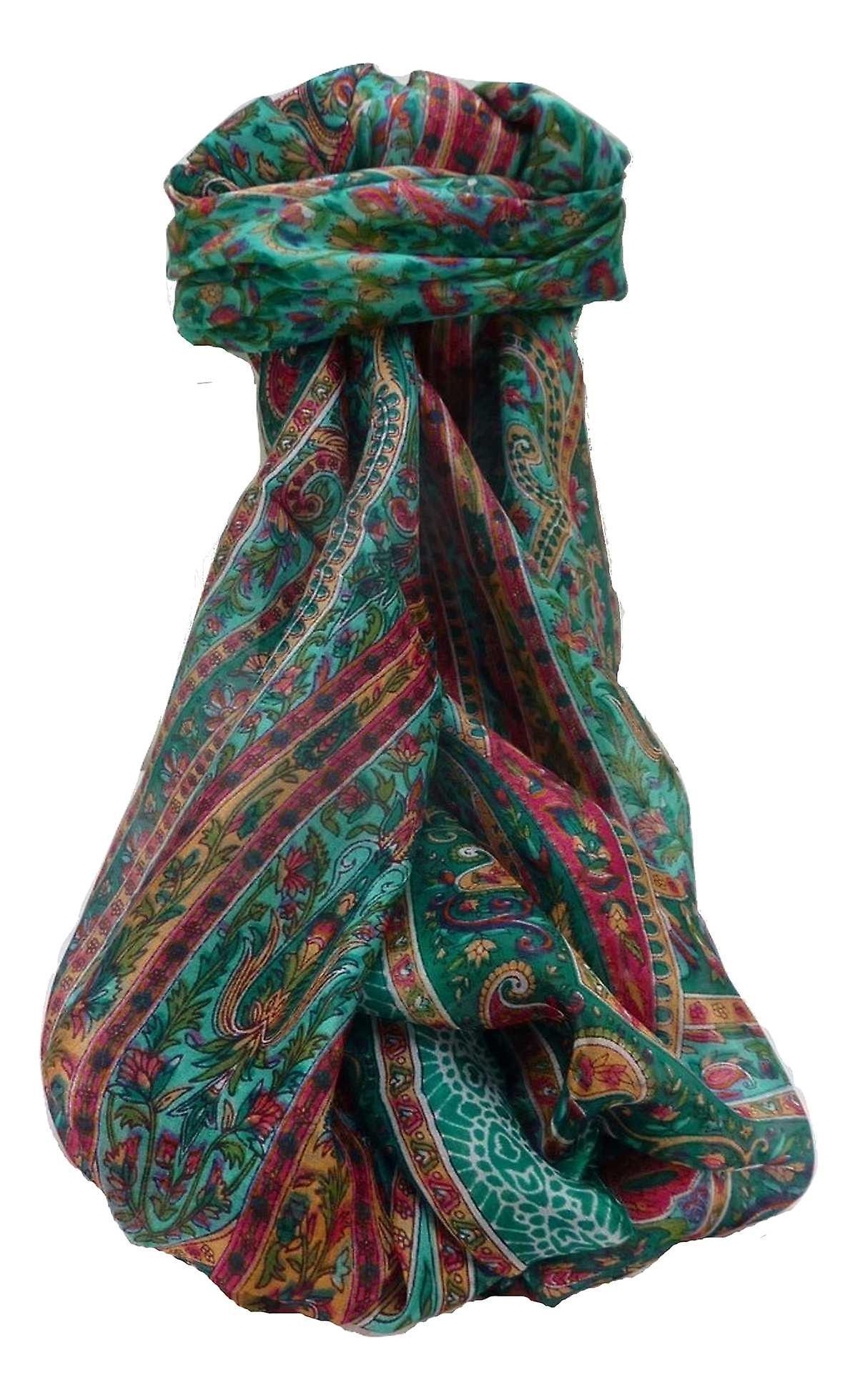 Mulberry Silk Traditional Long Scarf Kaliash Teal by Pashmina & Silk