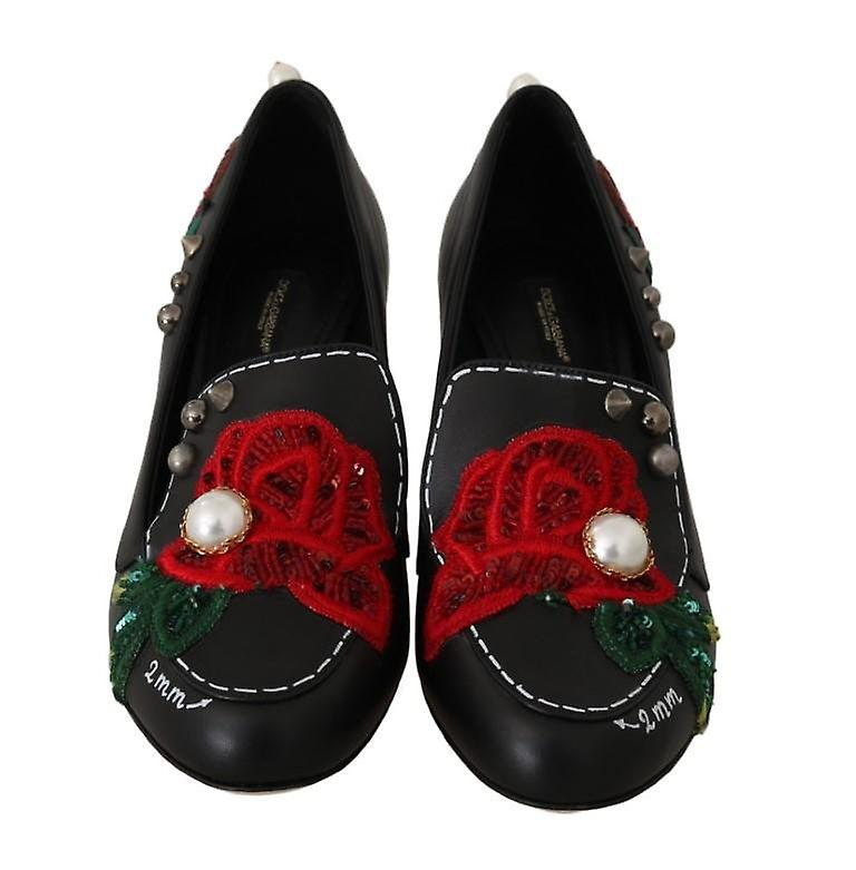 Black Leather Pearls Studs Moccasins