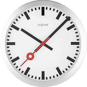NeXtime - Horloge murale - 34,8 x 4,5 cm - Aluminium - Brossé - Apos;Station Stripe-apos;