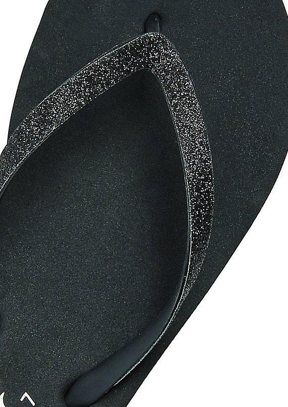 Reef Krystal Star Flip Flops in Black/Black