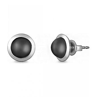 Quinn - Silver stud earrings with moonstone - 036838950