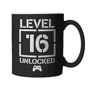 Level 16 Unlocked Video Game Birthday Mug | Joke Cheap Gift Sticking Filler Secret Santa | 60s 70s 80s 90s Dad Grandad Son Mum Daughter | Gaming Cup Gift