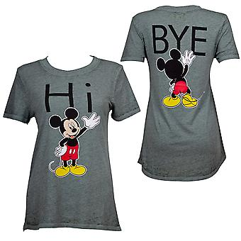 Mickey Mouse Hi Bye Juniors Fitted Grey T-Shirt