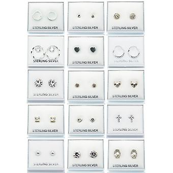 Crystal Stud Sterling Silver Earrings