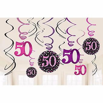 Amscan Sparkling Pink Celebration 50th Birthday Swirl Decorations (Pack of 12)