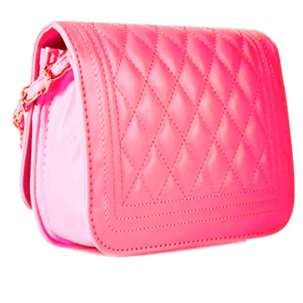 Designer quilted mini womens faux leather style tote messenger bag