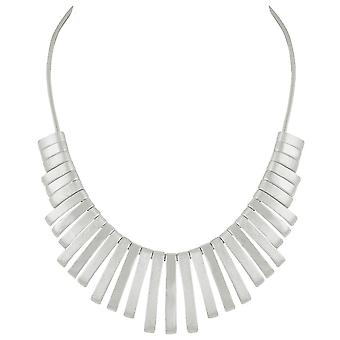 Eternal Collection Delight Graduated Fan Silver Tone Metallic Statement Necklace