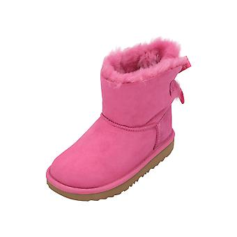 UGG Mini Bailey Bow II Kids Girls Boots Pink Lace Up Boots Winter