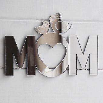 Söta fåglar på mamma Text akryl spegel