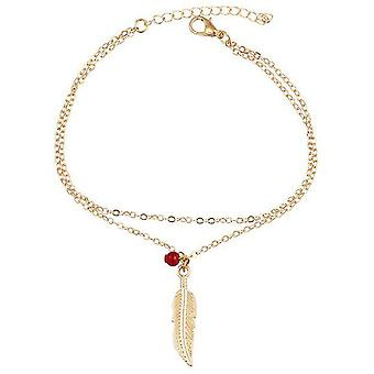 Double layer leaf charm anklet