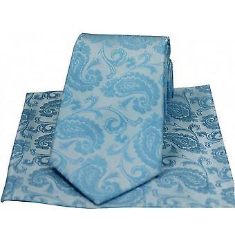 David Van Hagen Paisley gewebt Seide Krawatte und Tasche Platz Set - blau