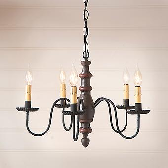 Irvin's Country Tinware Country Inn Wood Chandelier in Americana Espresso