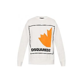DSQUARED2 القطن طباعة شعار قميص أبيض