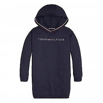 Tommy Hilfiger Mädchen Marine Logo Kapuzenkleid