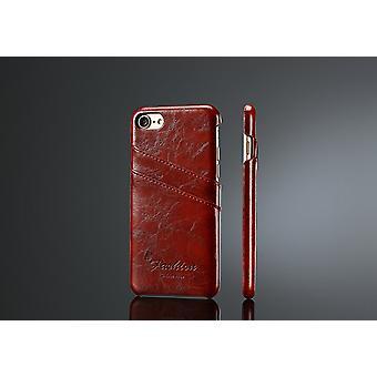 Für iPhone SE(2020), 8 & 7 Fall, elegante Deluxe hochwertige Schutzleder-Abdeckung, braun
