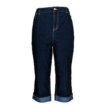 Joan Rivers Classics Collection Women's Petite Jeans Crop Cuffed Blue A304666