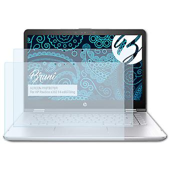 Bruni 2x Schutzfolie kompatibel mit HP Pavilion x360 14-cd0700ng Folie