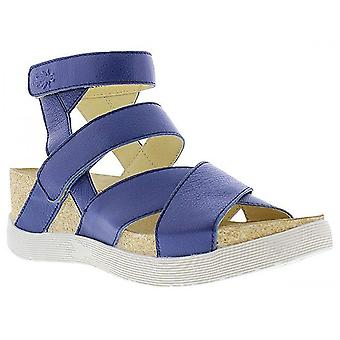 Fly London Ladies Wege669fly Blue Soft Moose Leather Gladiator Strappy Sandals