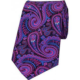 Posh and Dandy Luxury Swirly Paisley Silk Tie - Orange/Purple