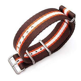 Strapcode n.a.t.o watch strap miltat 22mm g10 military watch strap ballistic nylon school look armband - brown, orange & white