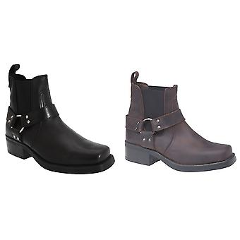 Woodland Mens Low Harley Gusset Harness Leather Boots