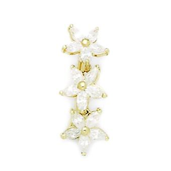 14k Yellow Gold CZ Cubic Zirconia Simulated Diamond 14 Gauge 3 Flowers Body Jewelry Belly Ring Measures 24x9mm Jewelry G