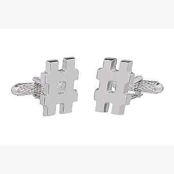 Hashtag Cufflinks by Onyx Art - Gift Boxed - Silver # Hash Tag Cuff Links