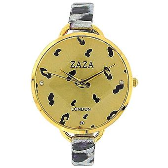 Zaza London Purple Leopard Design Strap Ladies Goldtone Dial Fashion Watch LLB872