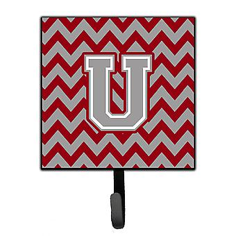 Letter U Chevron Crimson and Grey   Leash or Key Holder