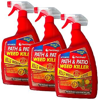 3 x PestShield Path & Patio Weed Killer 500ml, Red, 3 x 500ml, 9999261-RED