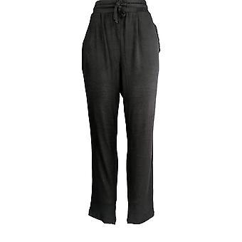 Anybody Women's Pants Hacci Slim Leg W/ Ruffle Pockets Black A349806