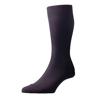 Pantherella Naish Rib Merino Wool Socks - Black