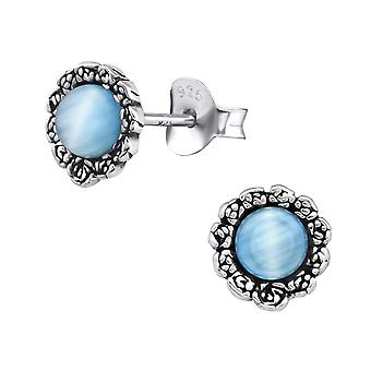 Flower - 925 Sterling Silver Plain Ear Studs - W30289x