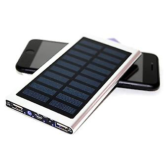 Stuff Certified® External 30,000mAh Solar Charger Power Bank Solar Panel Emergency Battery Battery Charger Silver