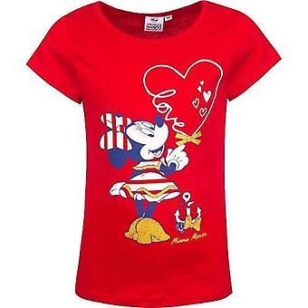 Girls Crew Neck T-Shirt Licenced Minnie Marin With Glitter