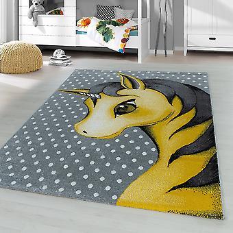 ShortFlor niños alfombra unicornio bebé bebé habitación alfombra gris amarillo