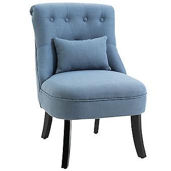HOMCOM Fabric Single Sofa Dining Chair Tub Chair Upholstered W/ Pillow Solid Wood Leg Home Living Room Furniture Blue