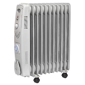Sealey Rd2500T olje fylt Radiator 2500W/230V 11 Element med Timer