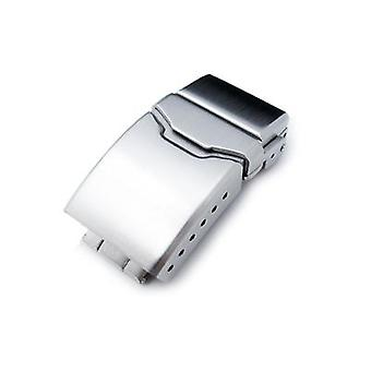 स्ट्रैपकोड वॉच क्लैप 18 मिमी, 20 मिमी या 22 मिमी स्टेनलेस स्टील शैम्फर बटन डाइव्प क्लास्प, पुश बटन, 6 समायोजित छेद और सुधार फ्लिप-लॉक, ब्रश