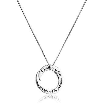 "Sterling Silver ""A Journey Is Best Measured By Friends Not, Silver, Size No Size"
