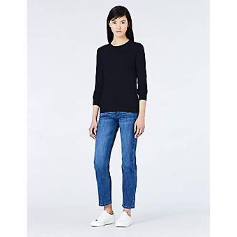MERAKI Women's Cotton Crew Neck Sweater, Blue (Navy), EU XL (EUA 12-14)