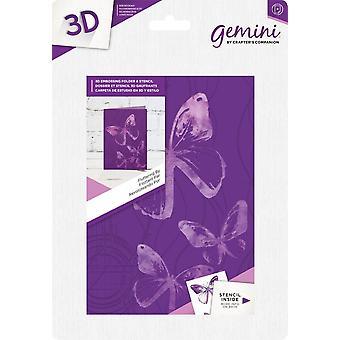 Gemini Fluttering By 3D 5x7 Inch Embossing Folder & Stencil
