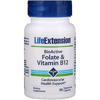 Estensione della vita, BioActive, Folate & Vitamina B12, 90 Capsule Vegetariane