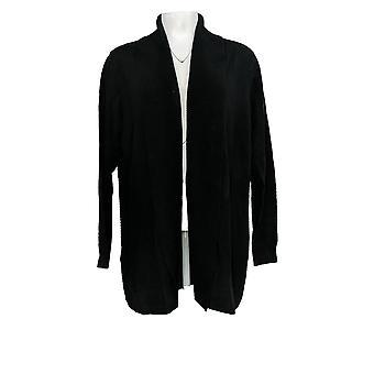 Isaac Mizrahi Live! Women's Ribbed Shawl Collar Cardigan Black A368040
