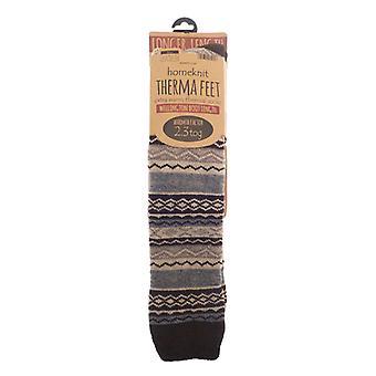 Homeknit Mens Patterned Wellington Boot Socks, Brown