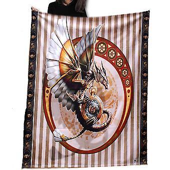Wild star - steampunk dragon fleece blanket / throw / tapestry  by anne stokes