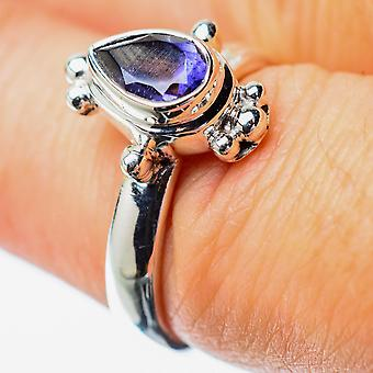Faceted Tanzanite Ring Size 7.25 (925 Sterling Silver)  - Handmade Boho Vintage Jewelry RING25788
