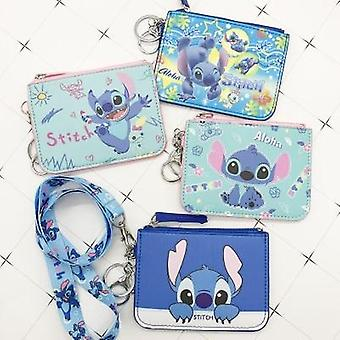 Cute Cartoon Printed, Stitch Pu Coin And Card Holder With Lanyard