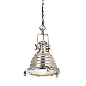 1 Light Dome Ceiling Pendant Clear Glass, Tarnished Silver, E27